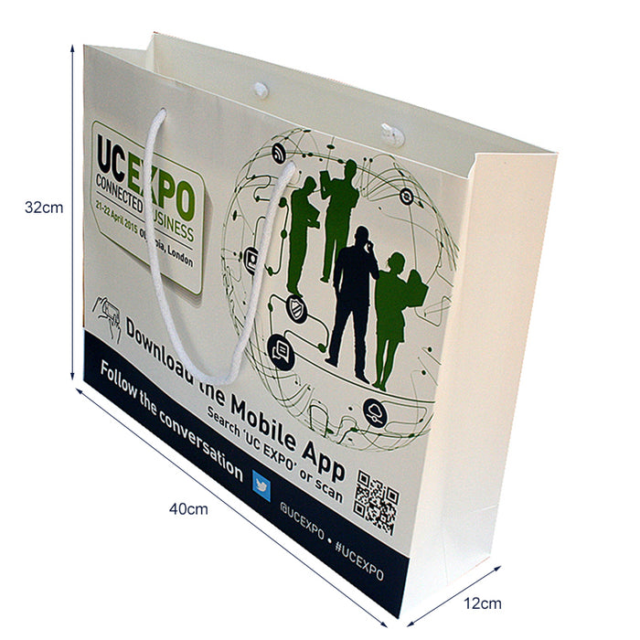Gloss Lam A3 Rope Handle Bags 40 x 12 x 32cm Full Colour, which are made to order and branded with your details.