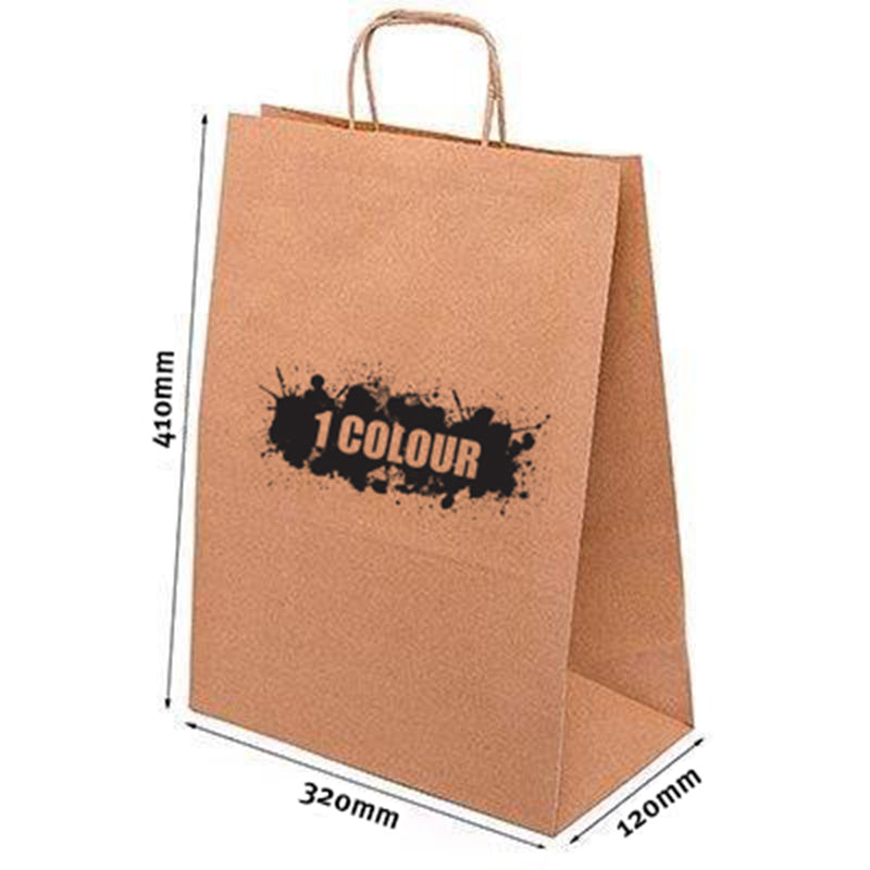 A3 Twist Handle Paper Bags - Brown