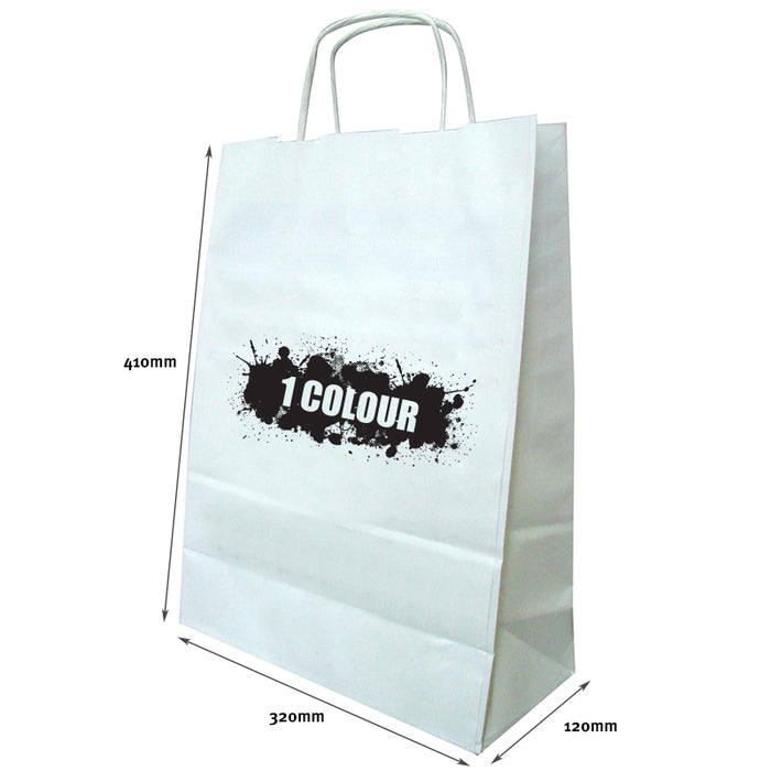 A3 Twist Handle Paper Bags - White