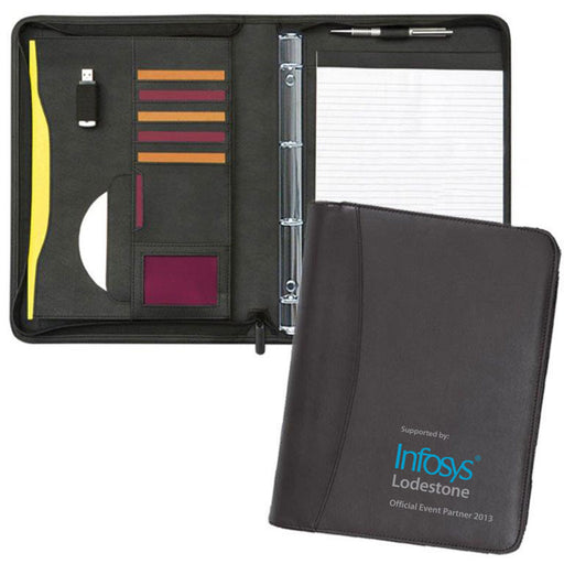 Prestbury Zipped Ring Binder Conference Folder which opens to reveal pockets, a notepad and pockets.