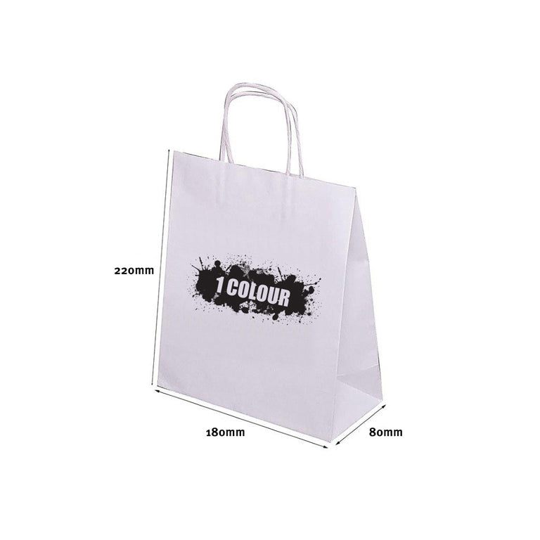 A5 Twist Handle White Paper Bags