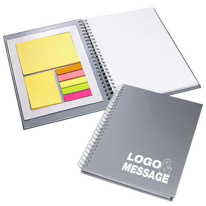 A5 Silver Wiro Notebook with Sticky Notes