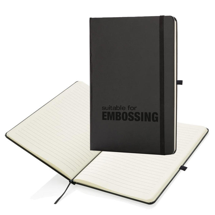 A5 Black Soft Feel Otter Notebooks with Free Pen Embossed with your logo, come with ruled lines.