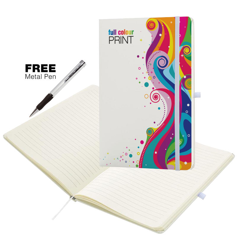 A5 Soft Feel Otter Notebooks Full Colour Edge to Edge in White which is a writing books with lines for branding.