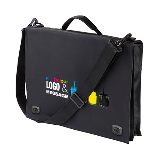 Cheadle Delux Conference Bag branded Full Colour which opens to hold documents etc.
