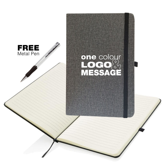 A5 Grey Soft Feel Otter Notebooks with Free Pen