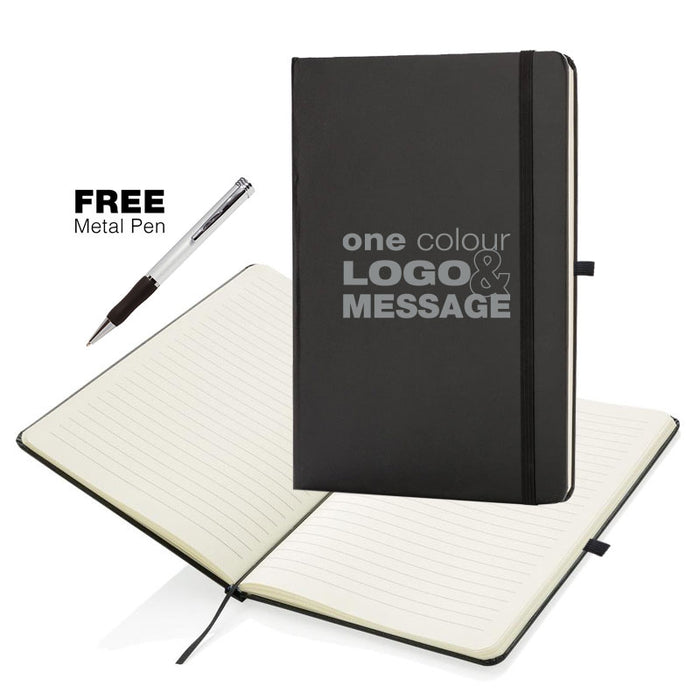 A5 Soft Feel Otter Notebooks Full Colour Edge to Edge in Grey which is a writing books with lines for branding.