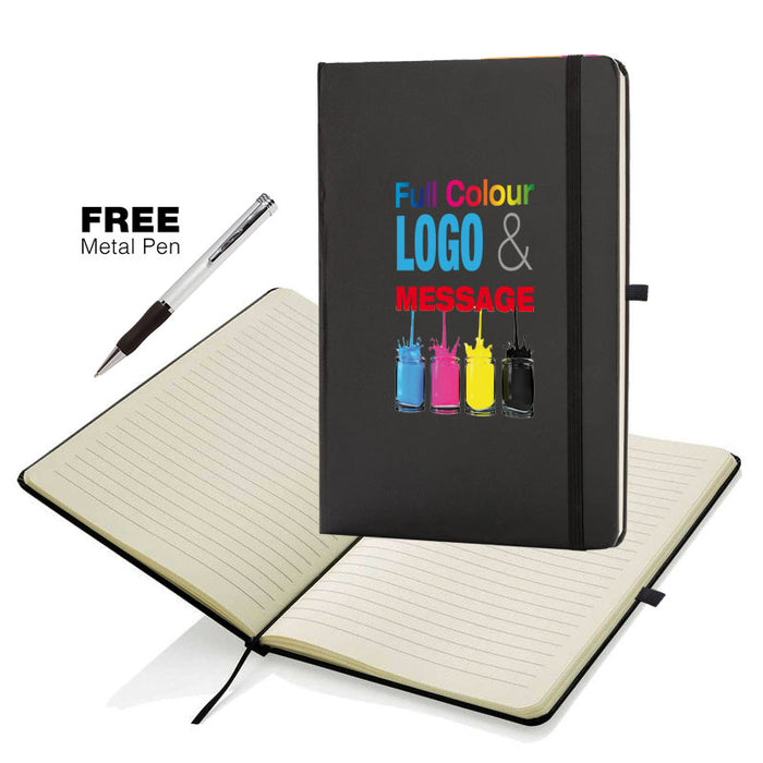 A5 Soft Feel Otter Notebooks Full Colour Edge to Edge in Black which is a writing books with lines for branding.