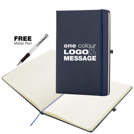 A5 Navy Blue Soft Feel Otter Notebooks with Free Pen, with ruled lines.