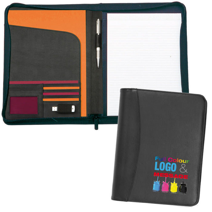 Prestbury A4 Zipped Conference Folder Full Colour, which unzips to reveal a notepad and pockets.