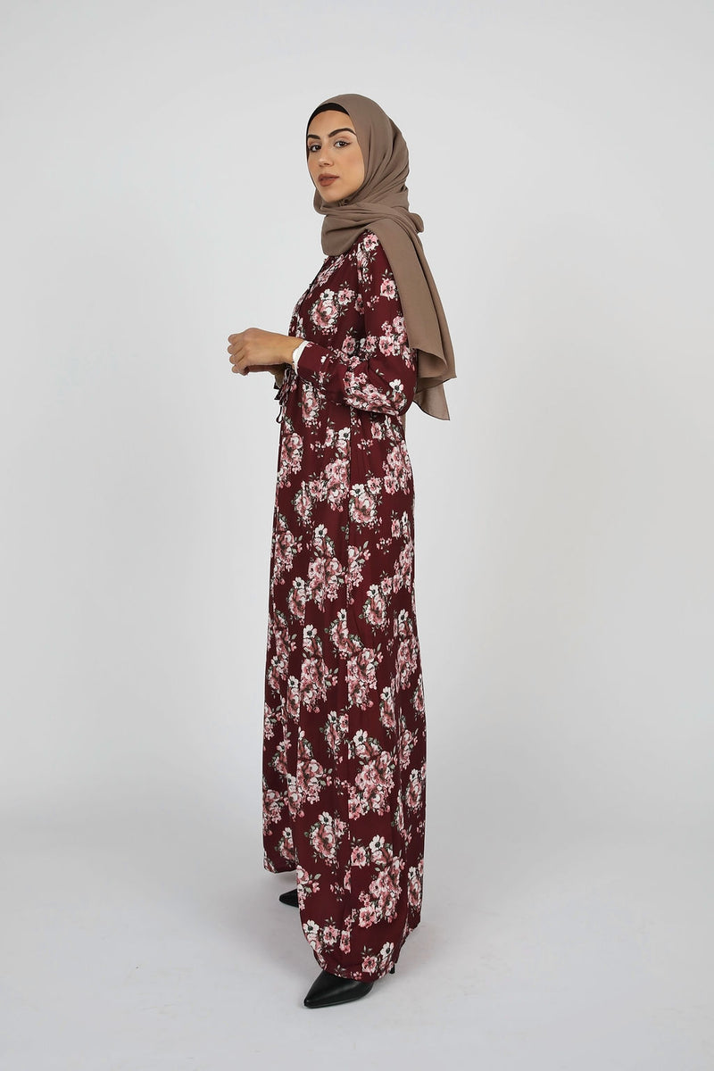 Berry Floral Button Down Maxi - Modernhijabi.com