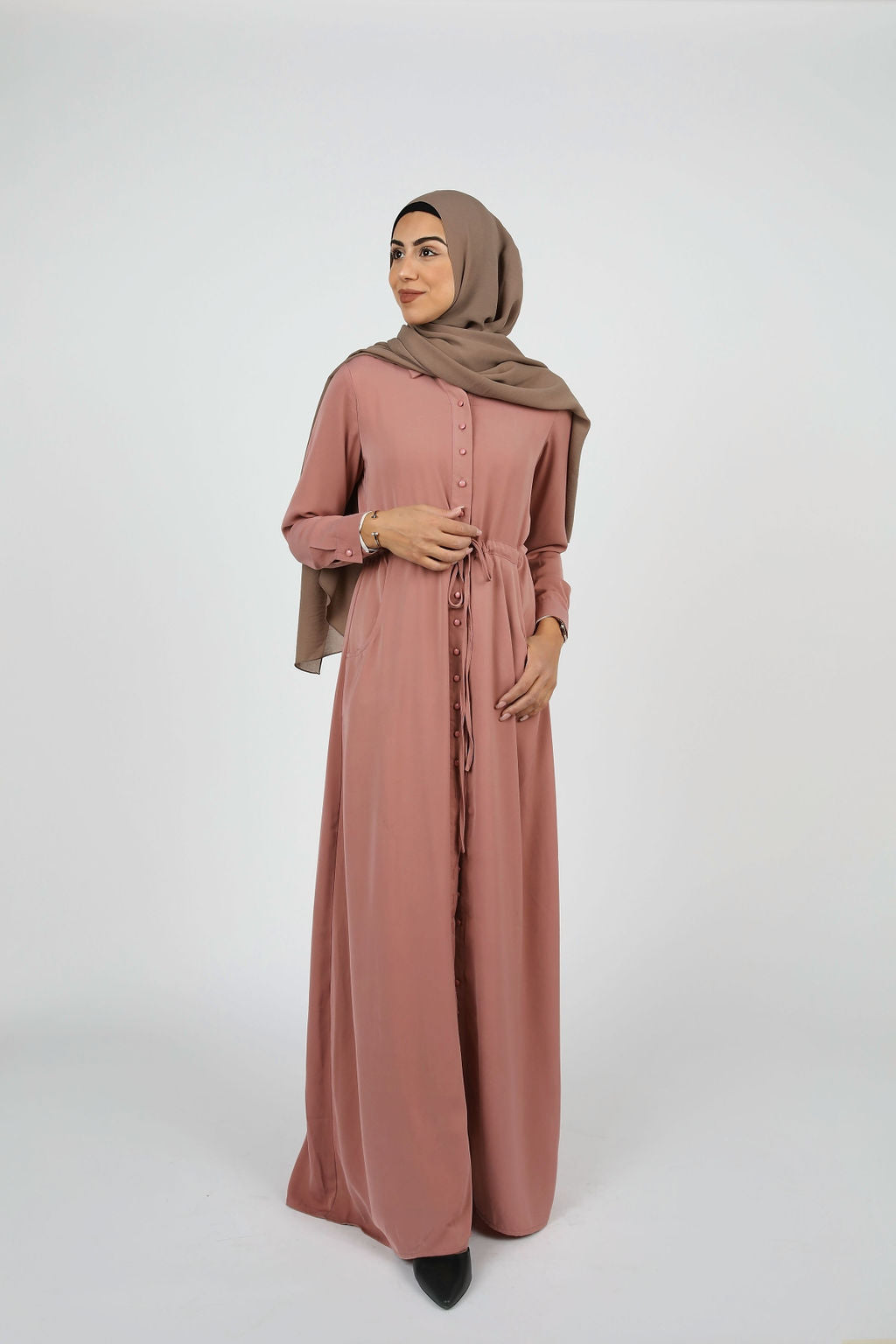 Dusty Rose Button Down Maxi - Modernhijabi.com
