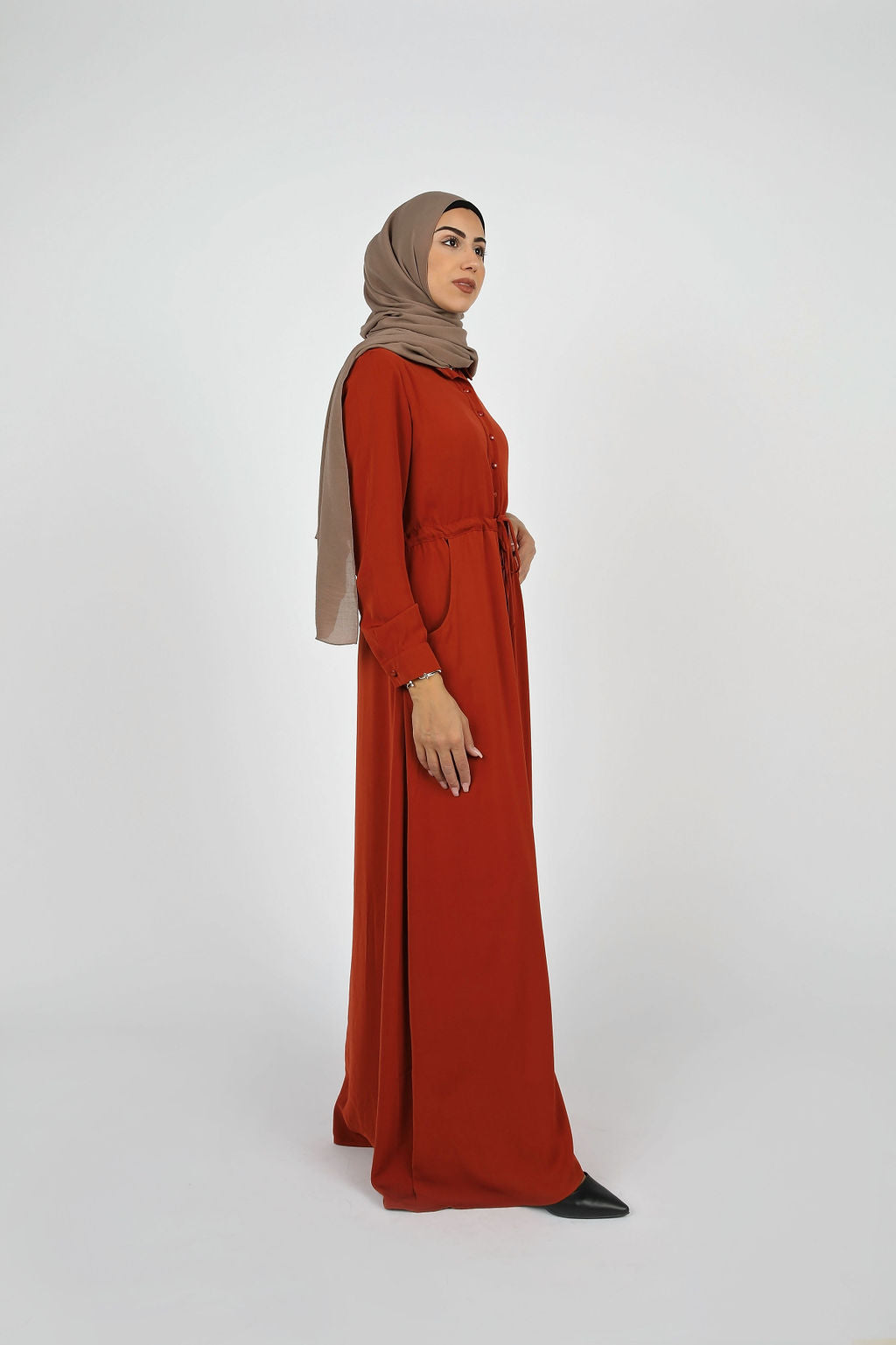 Terra Cotta Button Down Maxi - Modernhijabi.com