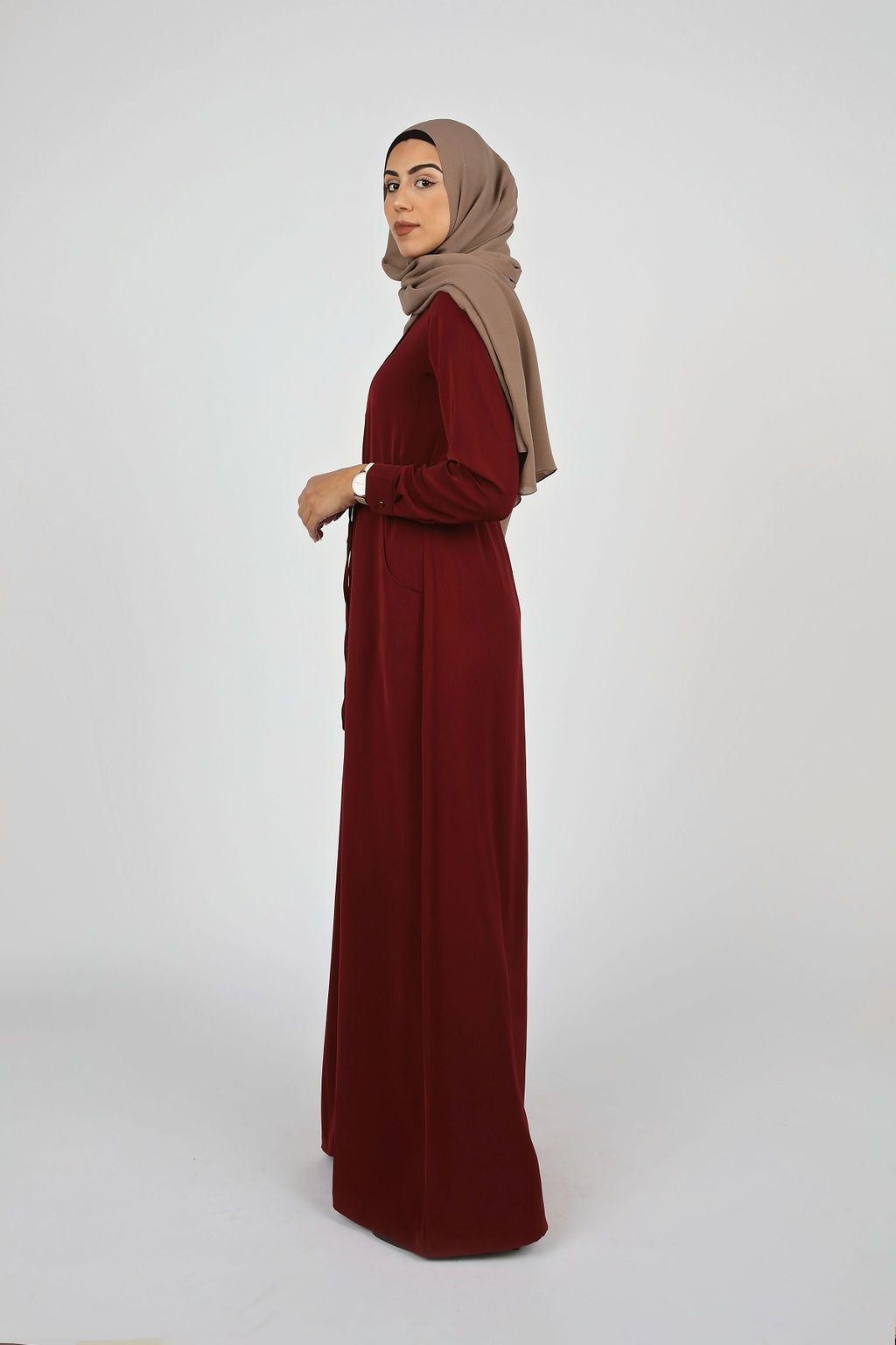 Wine Button Down Maxi - Modernhijabi.com