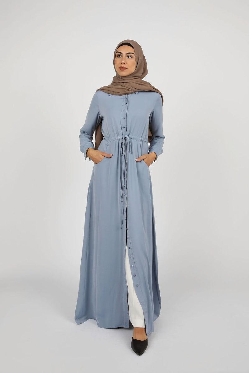 Dusty Blue Button Down Maxi - Modernhijabi.com