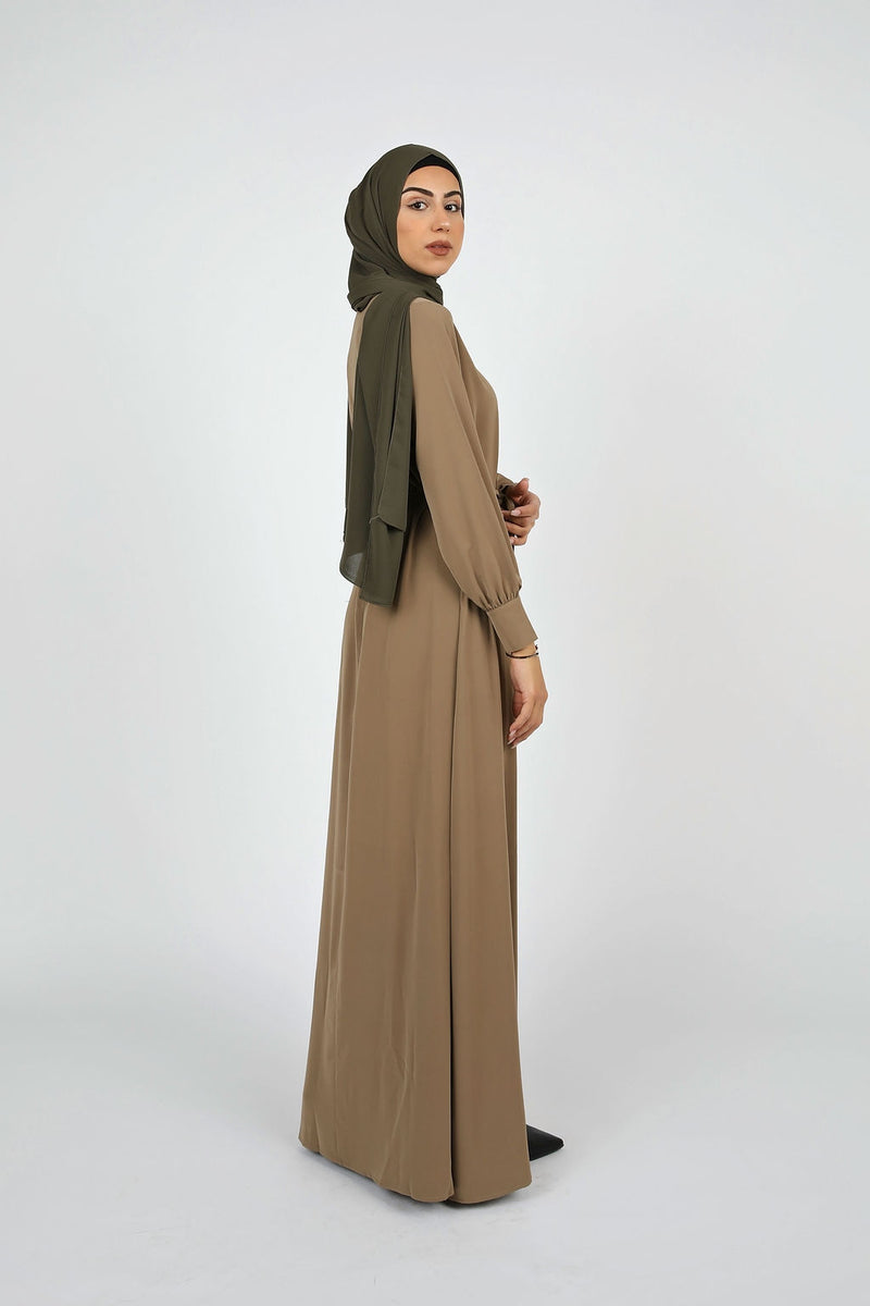 Taupe Plain Maxi Dress - Modernhijabi.com