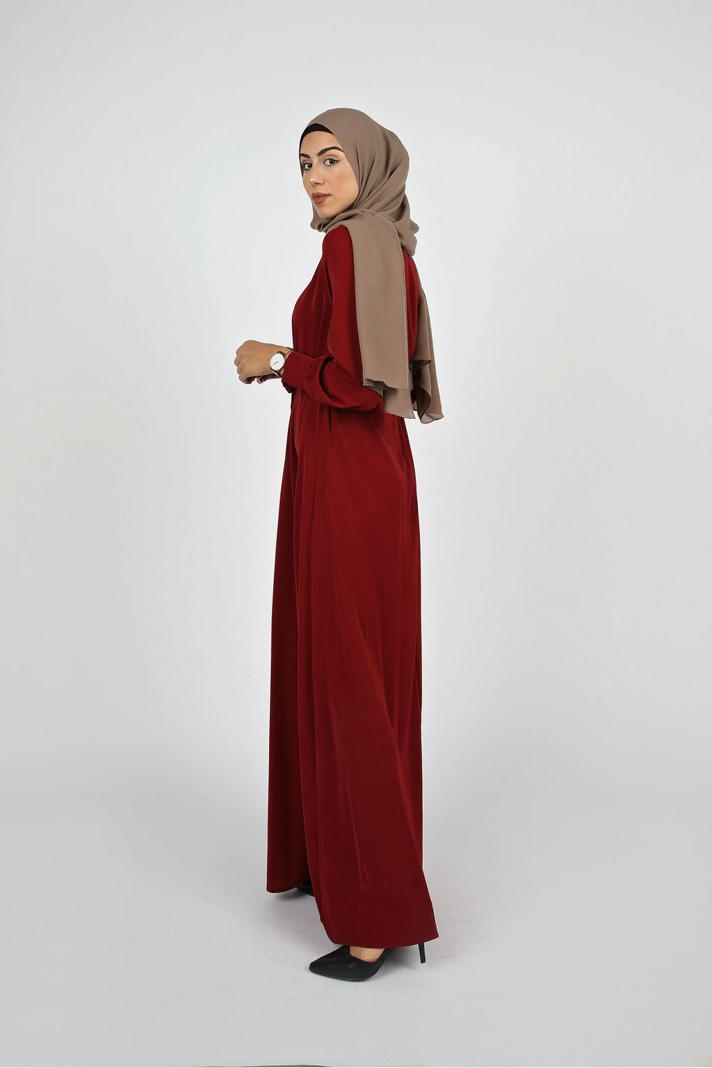 Burgundy Plain Maxi Dress - Modernhijabi.com