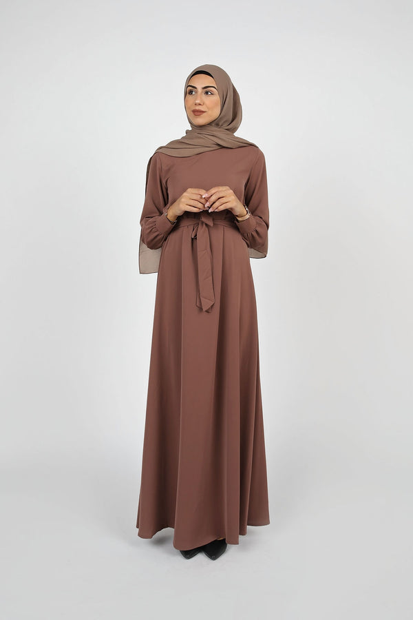 Mauve Plain Maxi Dress - Modernhijabi.com
