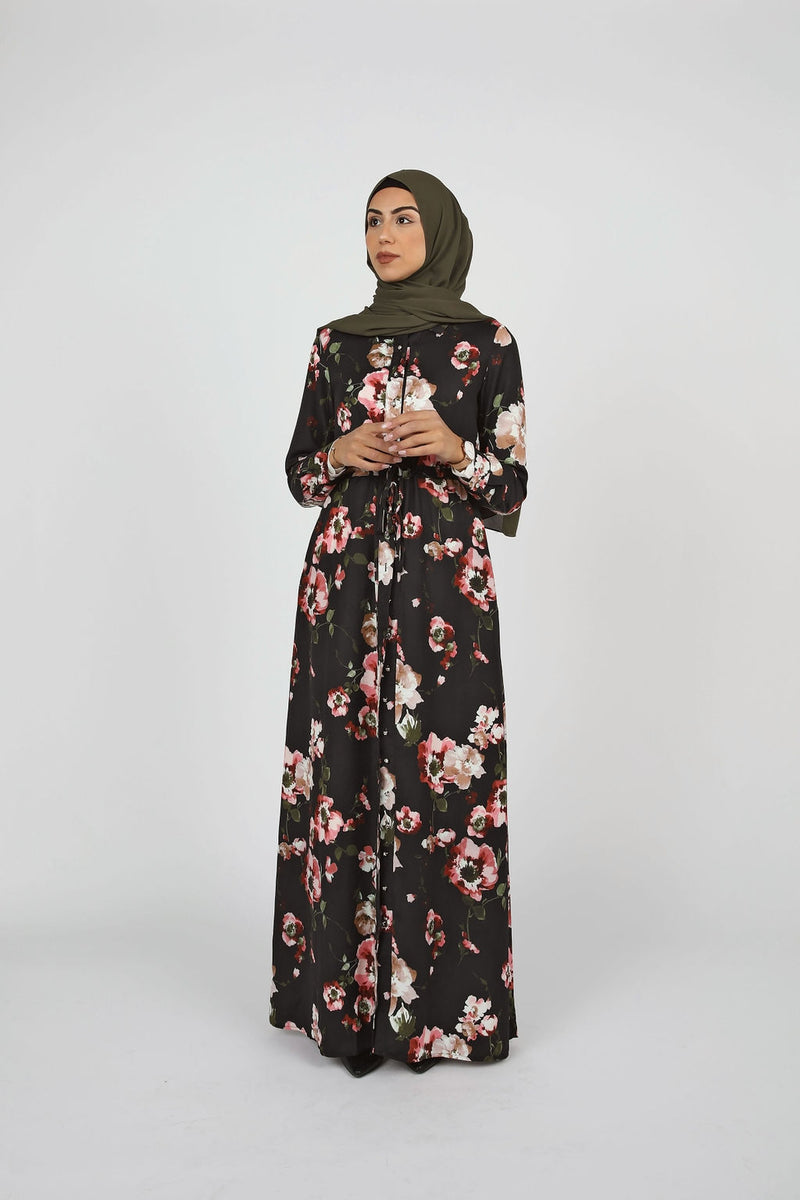 Black Floral Button Down Maxi - Modernhijabi.com