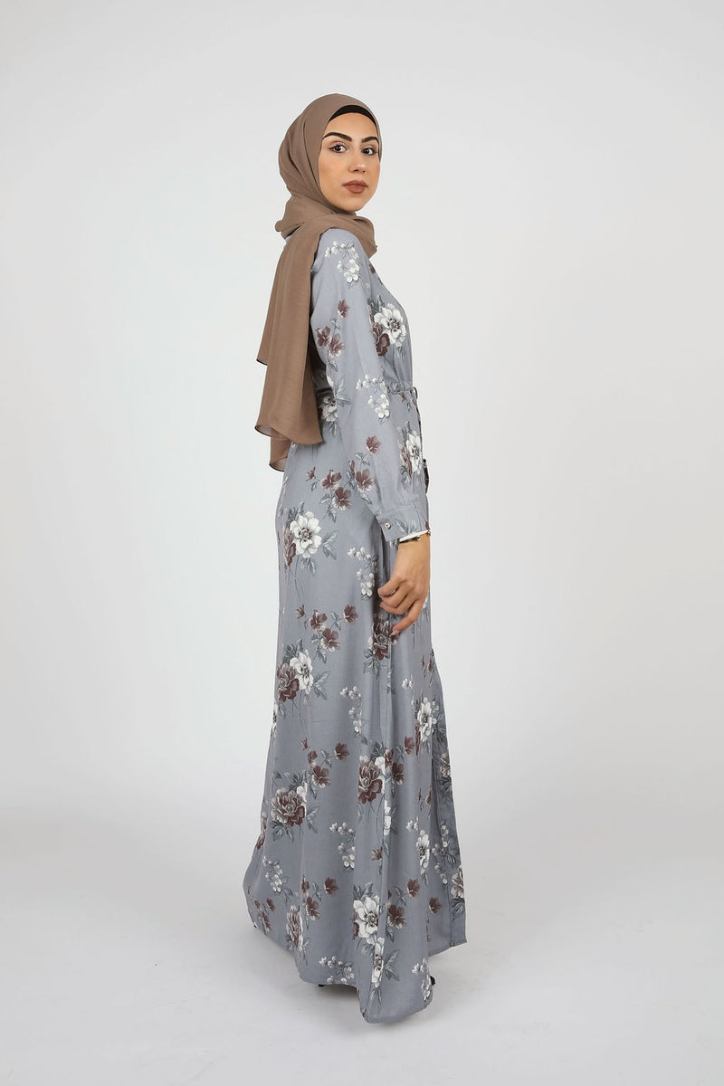 Floral Denim Button Down Maxi - Modernhijabi.com