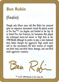 1998 Ben Rubin Biography Card [World Championship Decks] | HQ Gaming SA