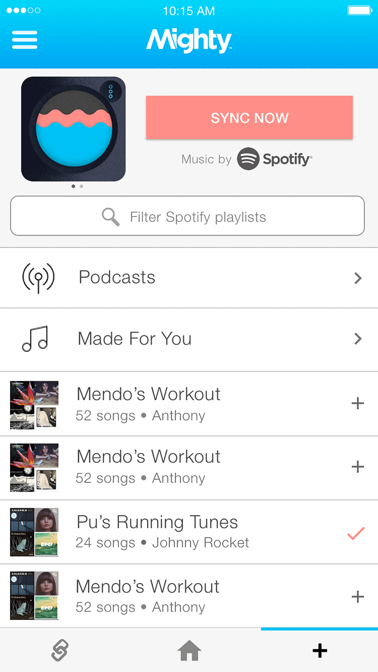 Use Mighty to follow a podcast series from your Spotify desktop or mobile app.