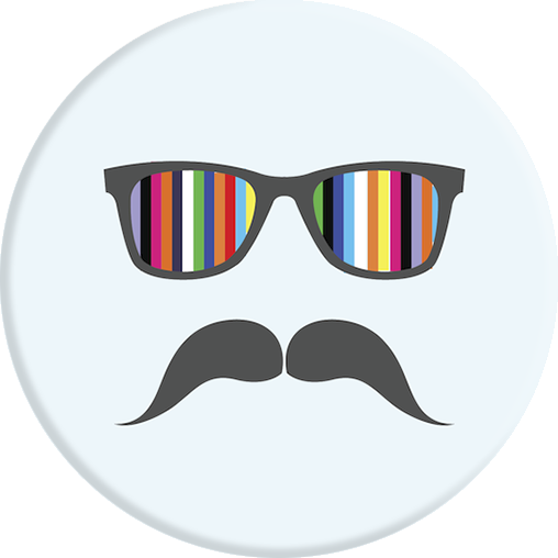 PopSockets Grip Moustache Rainbow, PopSockets
