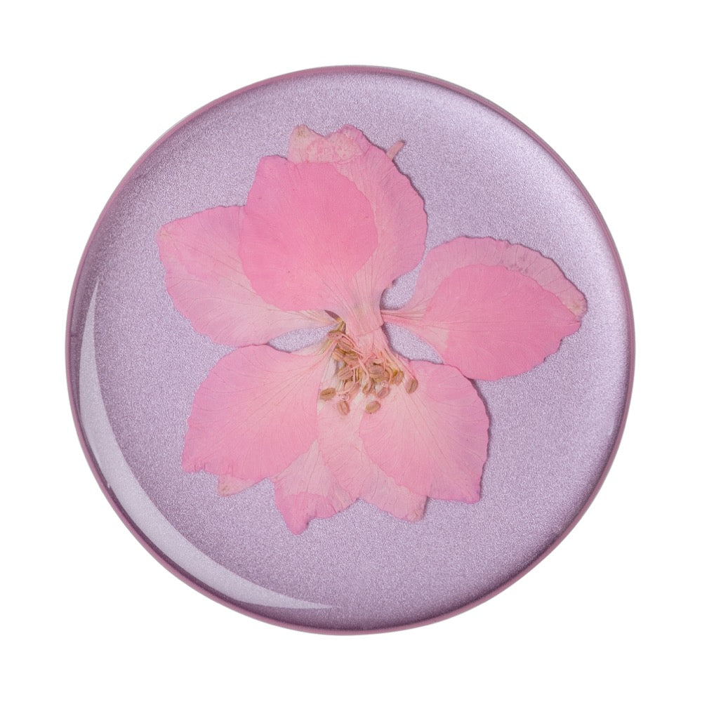 Swappable Pressed Flower Delphinium Pink, PopSockets