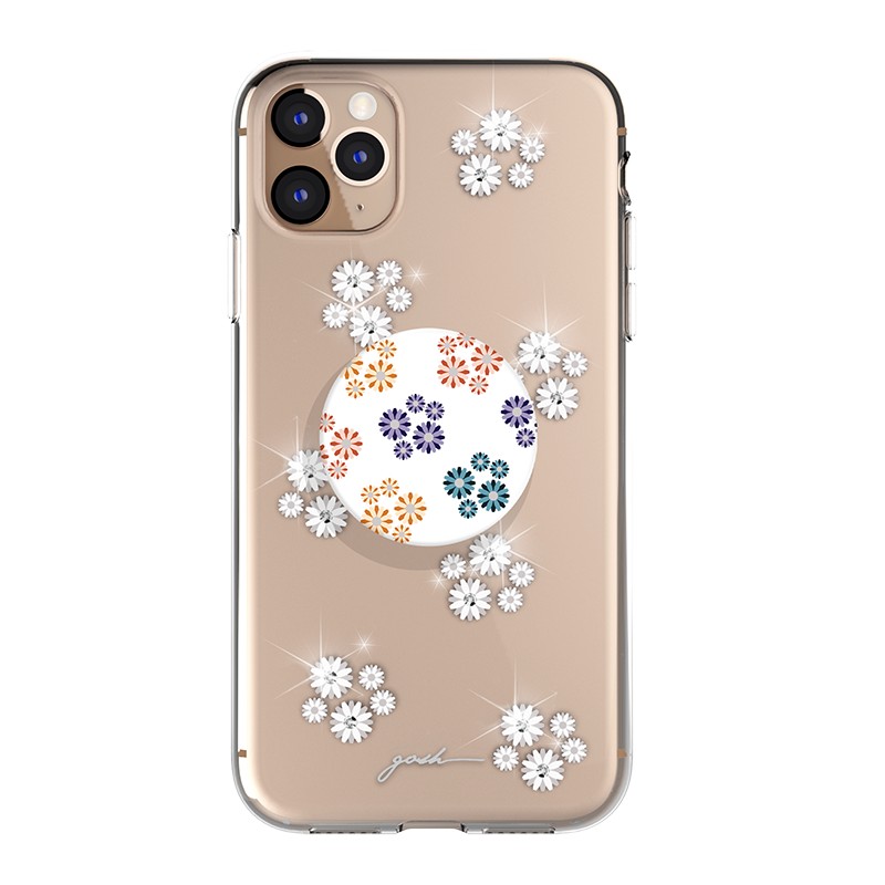 Gosh + Pop Hybrid iPhone 11 Pro Max Case Daisies Sparkle, PopSockets