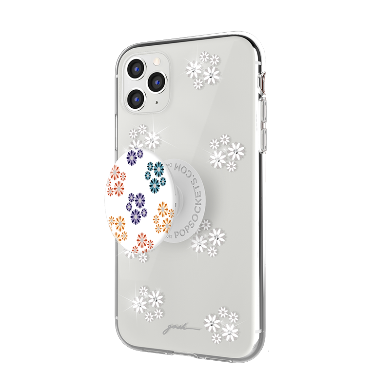 Gosh + Pop Hybrid iPhone 11 Pro Case Daisies Sparkle, PopSockets