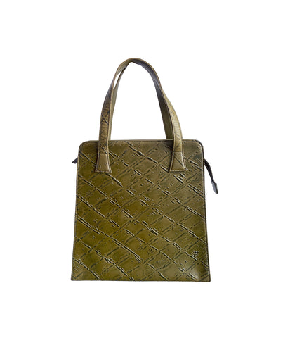 ROMEO GIGLI Leather & Silk Handbag