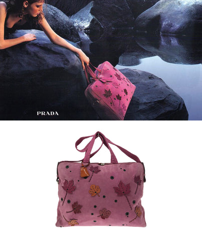 PRADA FW 1999 Pink Suede Travel Bag