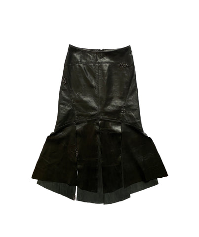 Leather pierced skirt S
