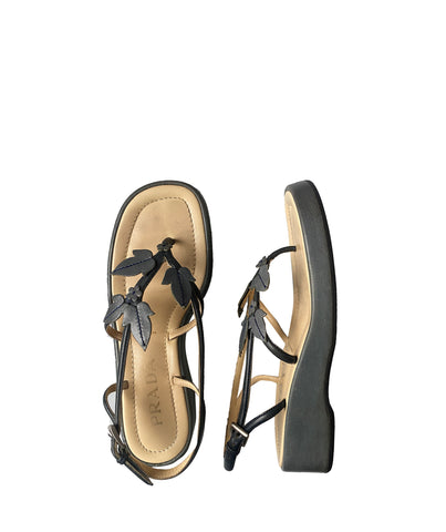 PRADA SS1997 Leaves Sandals 37