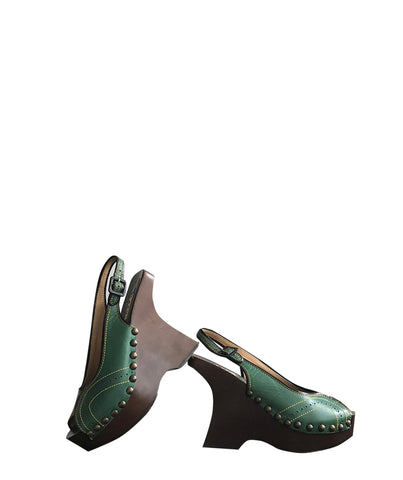 MARNI Green Wooden Clogs 38