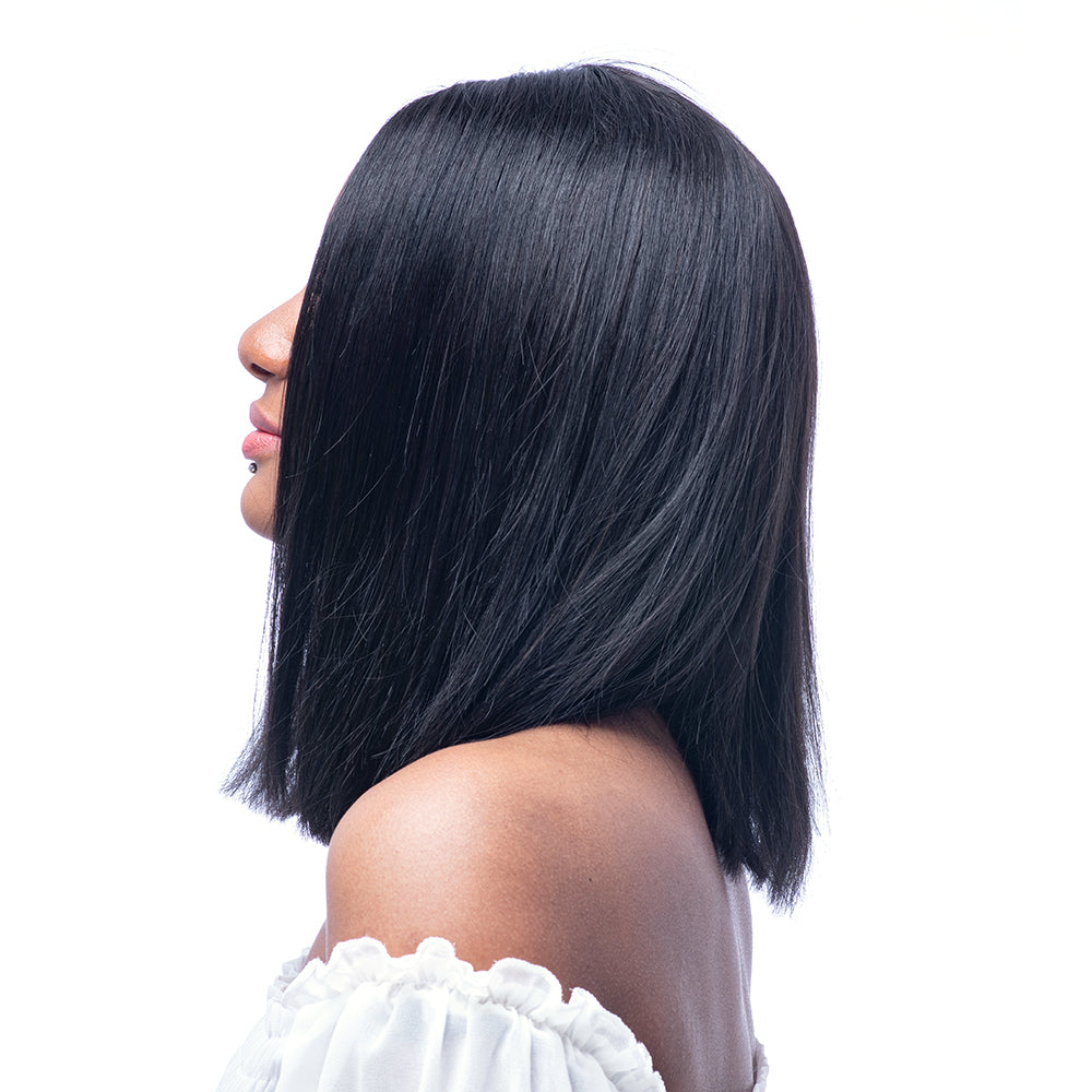 Glueless Silky Straight Short Bob Wig Brazilian Virgin Human Hair Wigs for Women Middle Part