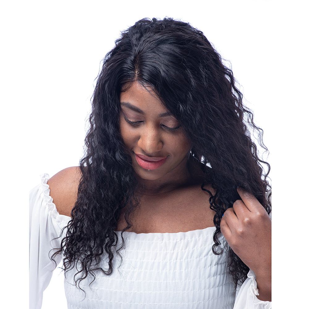 Deep Curly 130% Density Virgin Brazilian Hair Lace Front wigs