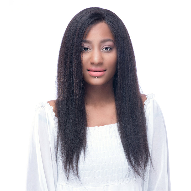 Italian Yaki 130% Density Virgin Brazilian Hair Silk Top Lace Front wigs