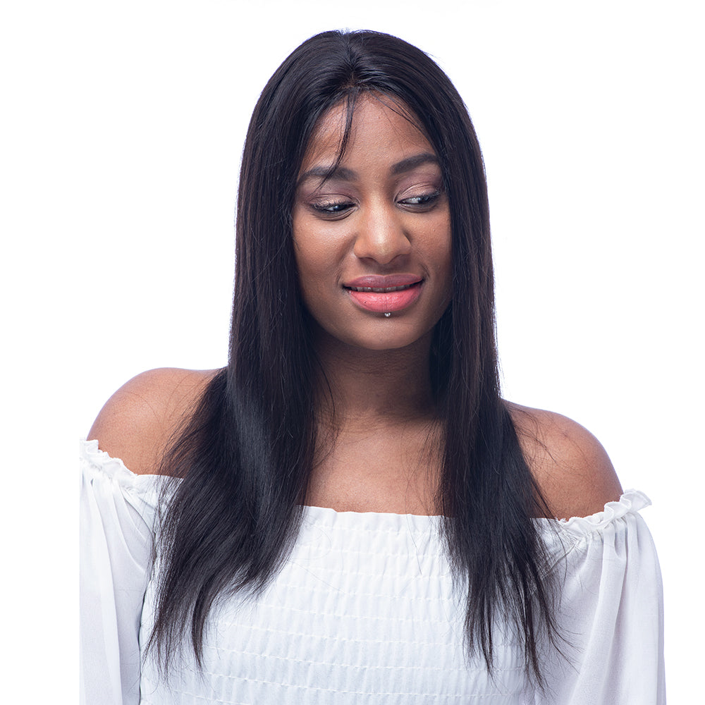 Silky Straight  Brazilian  Virgin Hair Lace Front Wig 130% Density with Baby Hairs