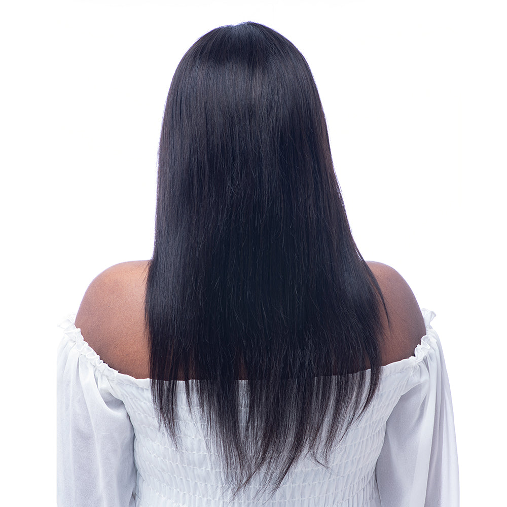 Silky Straight Brazilian Virgin Hair Preplucked 360 Lace Frontal Wig 150% Density