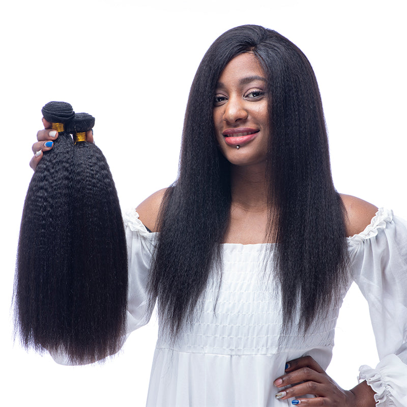 9A Brazilian Hair Italian Yaki  Human Hair Bundles With Double Weft 3 Bundles Natural Black