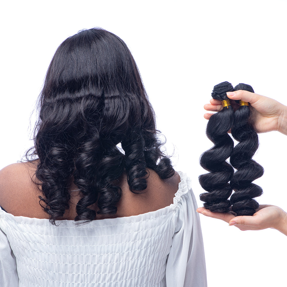 9A Brazilian Hair Loose Wave Human Hair Bundles With Double Weft Mixed Lengths From 10 To 22 Inches 3 Bundles Natural Black