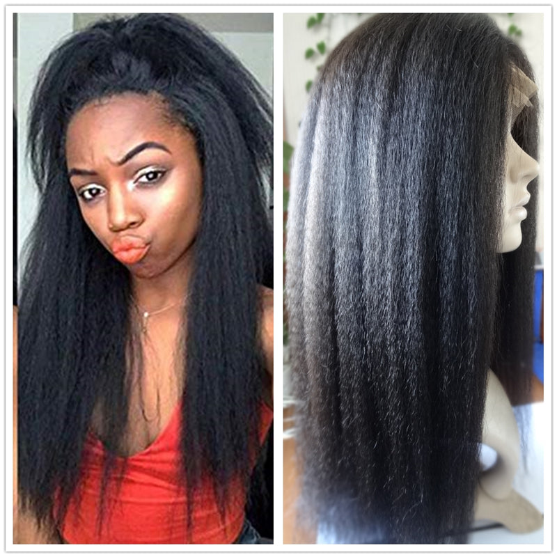 13x5 Lace Front Wig Italian Yaki Human Hair Wigs with Baby Hairs Pre-plucked Hairline 150% Density