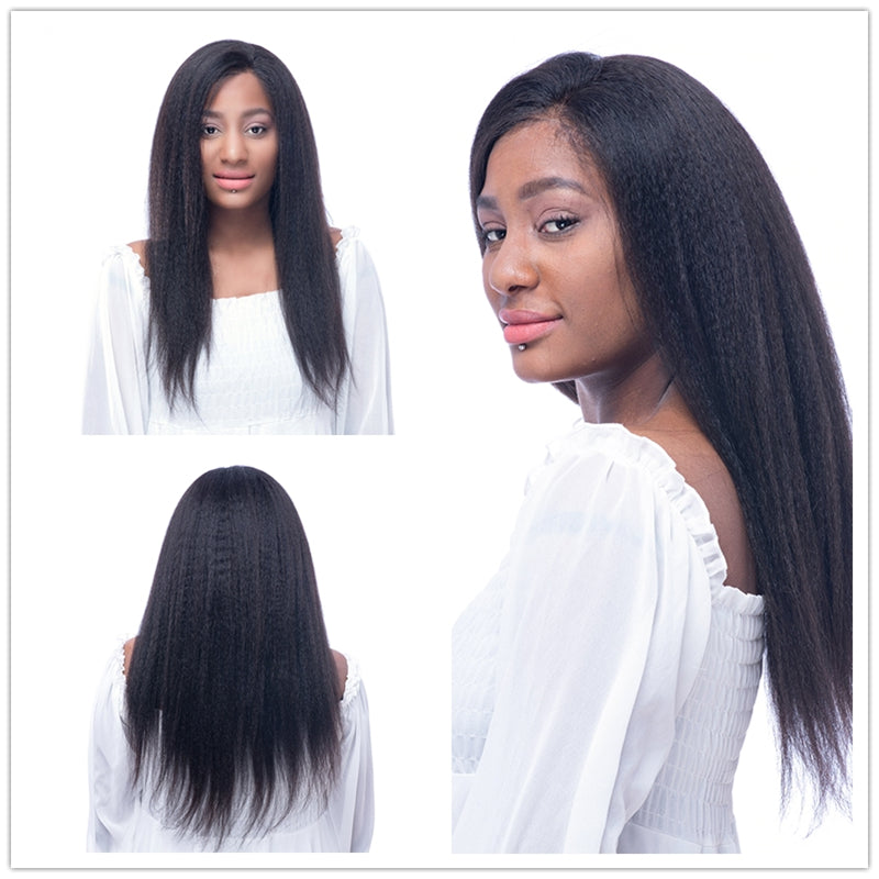 Pre Plucked 360 Lace Frontal Italian Yaki Wig Bleached Knots 150% Density with Baby Hair