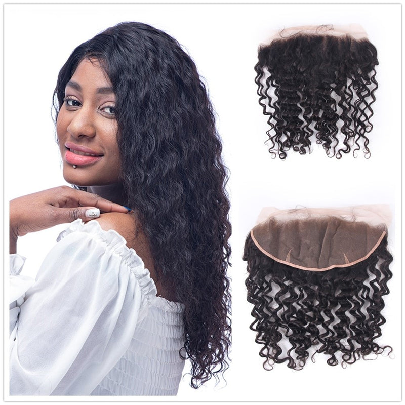13x4 Ear to Ear Curly Brazilian Virgin Human Hair Lace Frontal Closures