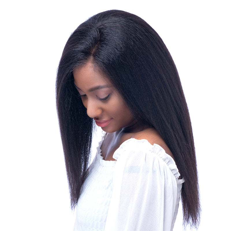 Italian Yaki 150% Density Silk Top Lace Front Human Hair Wigs for Black Women  Pre Plucked with Baby Hairs