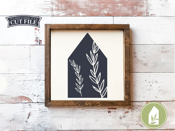 Botanical House Cut Files, Farmhouse SVG Files