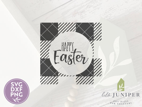 Happy Easter SVG Files, Buffalo Plaid Cutting Files