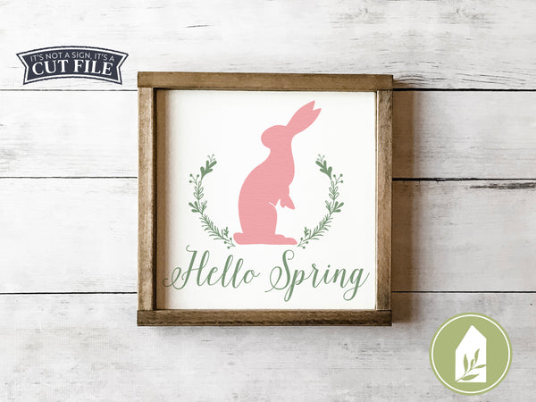 Hello Spring Bunny SVG Files, Easter Rabbit Cutting Files