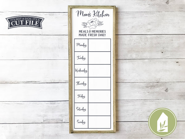 Mom's Kitchen Cut Files, Daily Menu SVG Files